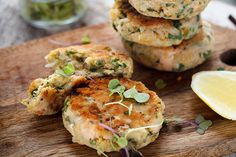 Angela Casley says a good accompaniment to this salmon cakes recipe are the chickpeas anf the broad beans, adding fresh colour, texture and taste. Chickpea Cakes, Chickpea Fritters, Chickpea Recipes, Healthy Recipes, Healthy Food, Healthy Eating, Broad Bean Recipes, Beans Recipes, Fish Recipes