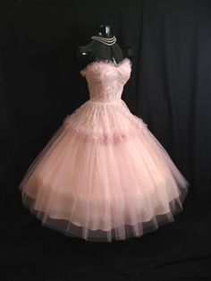 Vintage 50's 50s STRAPLESS Bombshell Pink Tulle Lace Party PROM Wedding DRESS Gown