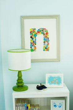 DIY monogram wall art - made of glued colorful buttons. Monogram Wall Art, Diy Monogram, Initial Art, Initial Decor, Letter Art, Cute Crafts, Diy And Crafts, Crafts For Kids, Arts And Crafts