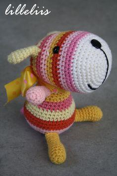 PATTERN Stripy sock puppy crochet amigurumi toy by lilleliis, to BUY, not a freebie. Love the head on it xox