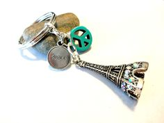 Eiffel Tower Key Chain, Peace Symbol Keychain, PARIS STRONG, Peace for Paris, Turquoise Keychain, World Peace by YoursTrulli on Etsy