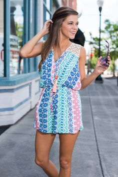 Sun Like It Hot Romper, Blue-Coral