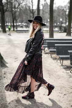 Bohemian skirt and leather jacket