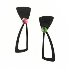 Daphne Krinos at Patina Gallery. Earrings, Oxidized Sterling Silver, 18K Yellow Gold, Pink & Green Tourmaline