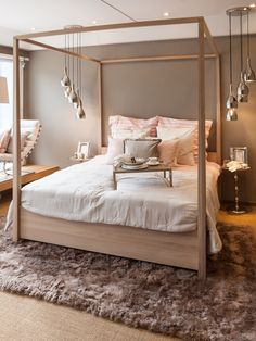 Lohmeier Home Interiors Canopy Bed Frame, Canopy Bedroom, Bedroom Bed Design, Girl Bedroom Designs, Dream Bedroom, Home Bedroom, Modern Bedroom, Bedroom Decor, Wooden Canopy Bed