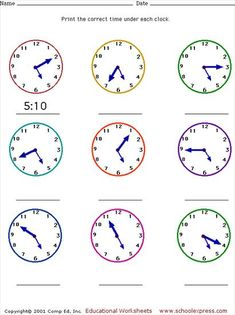 Free Worksheets Telling Time At 5 Minute Intervals Clock Worksheets, Free Printable Math Worksheets, Kids Math Worksheets, French Worksheets, Body Parts Preschool, English Stories For Kids, Learn To Tell Time, Math Charts, French Language Lessons