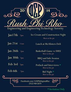 Rush Flyers made by Maria Gutierrez for the Phi Sigma Rho Upsilon Chapter at the University of Houston