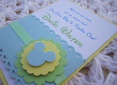 Baby Mickey Mouse Inspired Handmade Invitation, Modern and Elegant- Baby Shower or Birthday. $2.30, via Etsy.