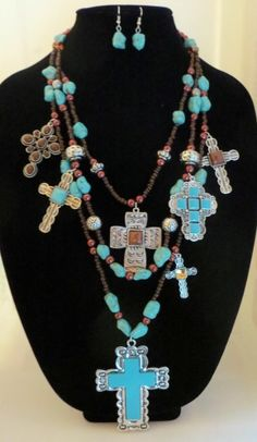 Cowgirl Bling Gypsy Southwestern Silver CROSS charms TURQUOISE necklace set WOW   .99 auction! our prices are WAY BELOW RETAIL! all JEWELRY SHIPS FREE! www.baharanchwesternwear.com baha ranch western wear ebay seller id soloedition