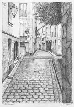 Pencil and ink sketch by Dai Wynn of a cobbled street in the old town (La Vieille Ville) of the city of Périgueux on the Dordogne River in Nouvelle A. Cool Art Drawings, Pencil Art Drawings, Art Drawings Sketches, Pencil Sketches Landscape, Landscape Drawings, Landscape Designs, Building Drawing, Building Art, Building Sketch