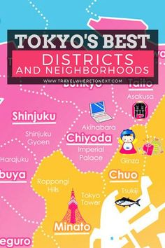 Quick Guide to Tokyo's Best Districts & Neighborhoods Tokyo is huge. Make sure you know all about each district before you head to Japan!Tokyo is huge. Make sure you know all about each district before you head to Japan! Tokyo Travel Guide, Tokyo Japan Travel, Japan Travel Guide, Go To Japan, Asia Travel, Travel Guides, Japan Trip, Solo Travel, Tokyo Tourist Map