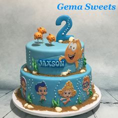 Bubble guppies birthday cake by Gema Sweets. Bubble Guppies Birthday Cake, Bubble Birthday Parties, Happy Birthday Boy, Boys 1st Birthday Party Ideas, Bubble Guppies Party, Puppy Birthday, Frozen Birthday Party, Birthday Party Favors, 2nd Birthday