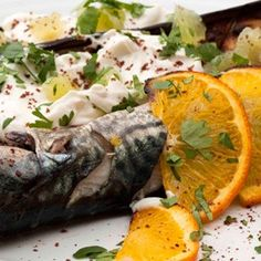 Barbecued Mackerel with Baked Aubergines and Yogurt Dressing