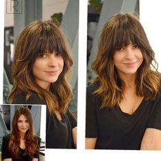 Lob+Haircut+With+Arched+Bangs You are in the right place about really long bob hairstyles Here we of Hairstyles With Bangs, Cool Hairstyles, Full Fringe Hairstyles, Celebrity Hairstyles, Manga Hairstyles, Wedding Hairstyles, Plus Size Hairstyles, Medium Hair Styles, Curly Hair Styles