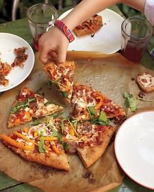 Pizza with Turkey sausage, Orange Peppers & Arugula~        Sounds good to me!