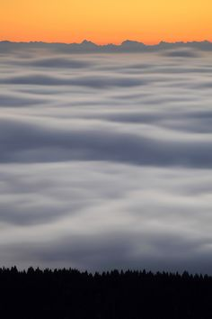 sea of fog covering the Bavarian forest and the Danube River, Germany
