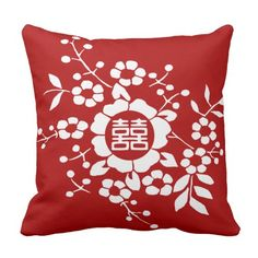 Red • Paper Cut Flowers • Double Happiness Throw Pillow