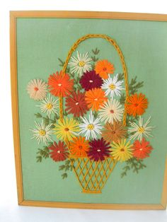 Vintage 60s Embroidery Crewel PictureFlower Basket by tessiemay, $29.00