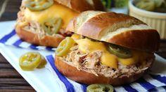 Slow-Cooker Jalapeño Popper Chicken Sandwiches