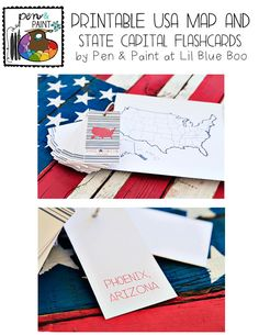 Printable USA Map and State Capital Flashcards via lilblueboo.com #teaching #states #learning