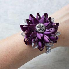 Wrist Corsage Flower Wrist Corsage Eggplant Wedding Jewelry Deep Purple Wedding Flowers Aubergine Silver Bridesmaid Flower Corsage