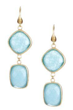 Rivka Friedman 18K Gold Clad Rectangle  Diamond Shape Caribbean Blue Quartzite Earrings