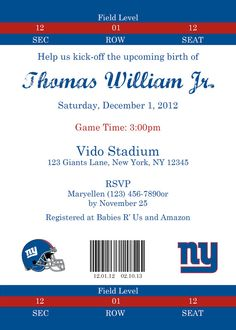 Giants Football Themed Baby Shower Invitation - Digital File