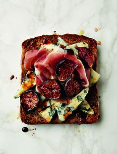Blue cheese, figs and parma ham - on toast! Link to delicious twists on the classic brunch staple.