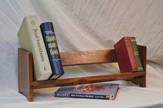 Mid century modern tabletop or desktop solid wood bookshelf - Woodworking Art Tabletop Bookshelf, Solid Wood Bookshelf, Desktop Bookshelf, Wood Bookshelves, Book Shelves, Bookcase, Diy Furniture Accessories, Summer House Interiors, Diy Desktop