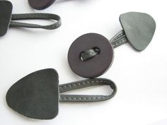 2 toggle closures for a duffle coat, sew on button closure with loop, faux leather
