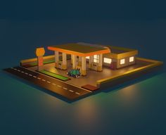 Low Poly Gas Station. Fully customizable low-poly 3D model. #3D #3DModel #3DDesign #Lowpoly #3dcomic #VR #AR #architecture #asset #blender #building #car #city #fuel #GameReady #GasStation #house #low-poly #render #street #way Low Poly 3d Models, Gas Station, 3d Design, Vr, Motorcycles, Layout, Architecture, Street, House Styles