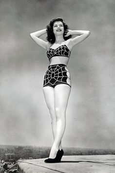 Best bathing suit ever!! Universal Starlet Patricia Alphin c. 1947 40s swimsuit spider web photo print ad