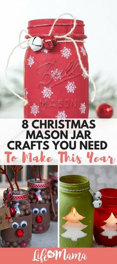 Whether you give them as a gift, or make something decorative for your home these Christmas mason jar crafts are a must this year. Make them yourself, or do a crafting session with the kiddos! #masonjar #masonjarcrafts #christmas #christmascrafts #crafts
