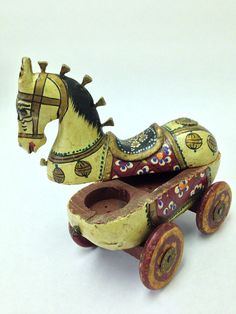 Wooden Painted Trojan Style Horse on Wheels by donnapaperscissors
