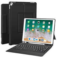 -Black Ultra-Thin PU Leather Silicon Rugged Shock Keyboard Stand Case with Pencil Holder Not Fit for 2018 New ipad Sounwill ipad pro 12.9 Case with Keyboard Compatible for ipad pro 12.9 2015//2017