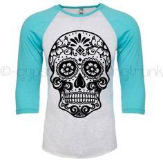 Sugar Skull Raglan Shirt - Sugar Skull Shirt - Skull Apparel - Day of the Dead Print - Boho Shirt - Turquoise Long Sleeve Shirt by GypsyJunkClothing on Etsy