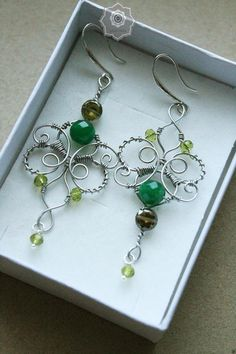 Wire wrap gemstone handmade earrings