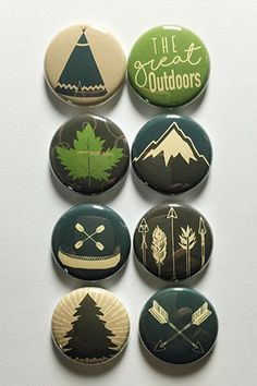 These are one inch flair buttons/pins. There are 8 flair in this set. Custom Buttons, Metal Buttons, Rock Painting Designs, Pin Button, Button Badge, Pin And Patches, Cute Pins, Pebble Art, Pin Collection