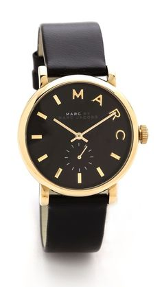 black and gold Leather Baker Watch Jewelry Accessories, Fashion Accessories, Watch Accessories, Marc Jacobs Watch, Look Fashion, Womens Fashion, Diamond Are A Girls Best Friend, Mode Inspiration, Swagg