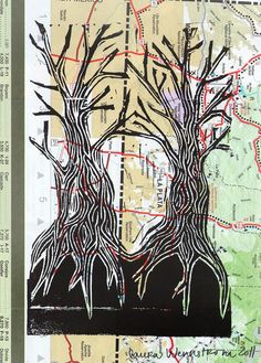 State Park Trees Linocut on Road Map, Original
