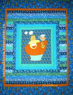 """Купить Лоскутное одеяло для мальчика """"Я Папай-морячок!"""" - детское лоскутное одеяло, детское покрывало"""