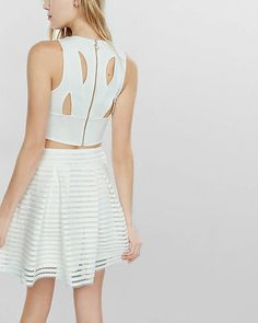 Ivory Mesh High Waisted Full Pleated Skirt from EXPRESS