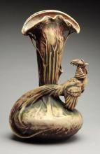 Amphora Ceramic Stylized Pheasant Vase.