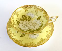 Paragon Yellow Gardenia Tea Cup & Saucer by NicerThanNewVintage on Etsy https://www.etsy.com/listing/462665731/paragon-yellow-gardenia-tea-cup-saucer