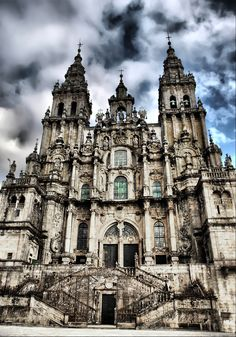 Santiago de Compostella Cathedral in Spain.  Definitely one of the most memorable places I have seen.  Sarah, Joan, Sean and I were fortunate to pray at St. James' tomb.  I have the most amazing black and white photos of us at the base of those luminous stairs.