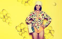 Orange cut-out bathing suit - Herve Leger Citrus silk blouse - Equipment Python clutch - Adriana Castro Swim cap - vintage