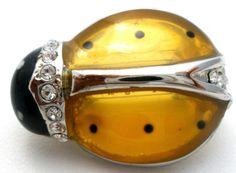 Vintage-Amber-Lady-Bug-Brooch-Rhinestone-Figural-Insect-Pin-Yellow-Black-Enamel