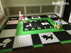 This is a fun and stylish Safari playroom floor thet is primarily black and white with lime accent tiles. The floor is also personalized with custom cut names. With SoftTiles, you can create a totally customized playroom floor. You choose, the colors, the die-cuts, and customs letters for your play mat.