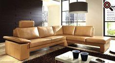 designer couch – modernes sofa fürs wohnzimmer aus leder in weiß, Hause deko