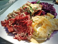 corned beef and cabbage with escalloped potatoes.